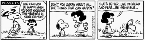 Snoopy cartoon about worrying about the future